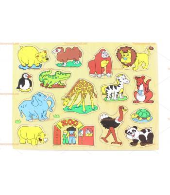 Toptan ahşap yapboz hayvanat bahçesi