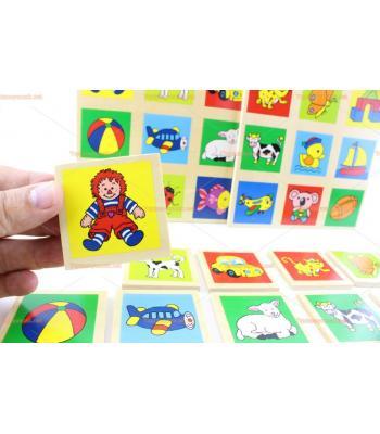 Toptan ahşap hafıza oyunu bingo 20 parça