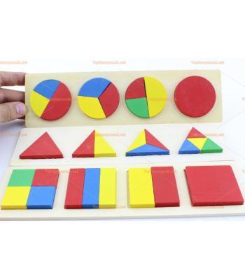 Toptan eğitici oyuncak üçlü geometri yapboz set