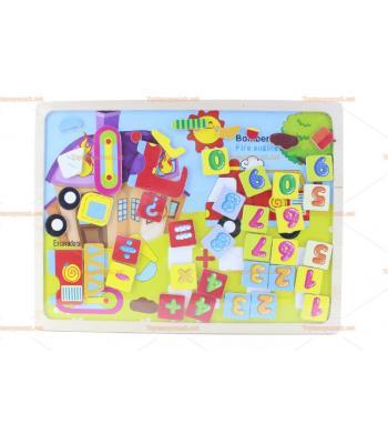 Toptan magnet harfler araçlar eğitici oyuncak tahta