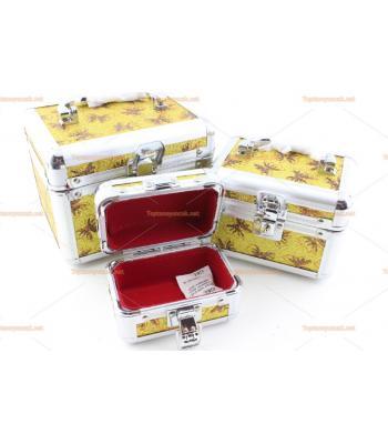 Kilitli aynalı makyaj mücevher kutusu üçlü set