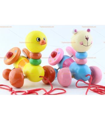 Toptan ahşap ipli tekerlekli çekçek oyuncaklar