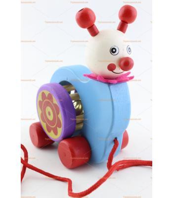 Toptan ahşap eğitici oyuncak salyangoz zilli