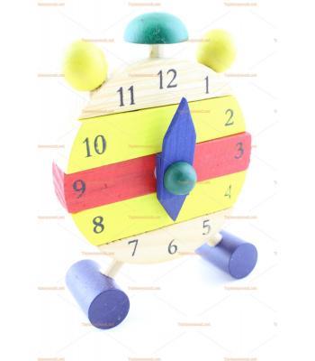 Çok ucuz toptan ahşap eğitici oyuncak saat promosyon