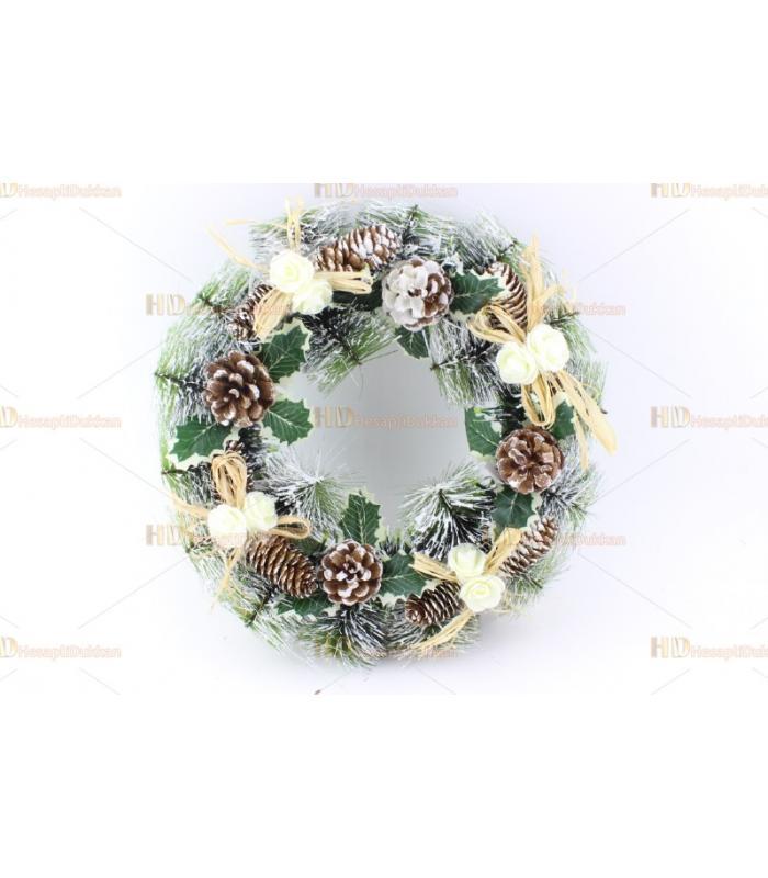 Yılbaşı kapı çelenk süs beyaz çiçek