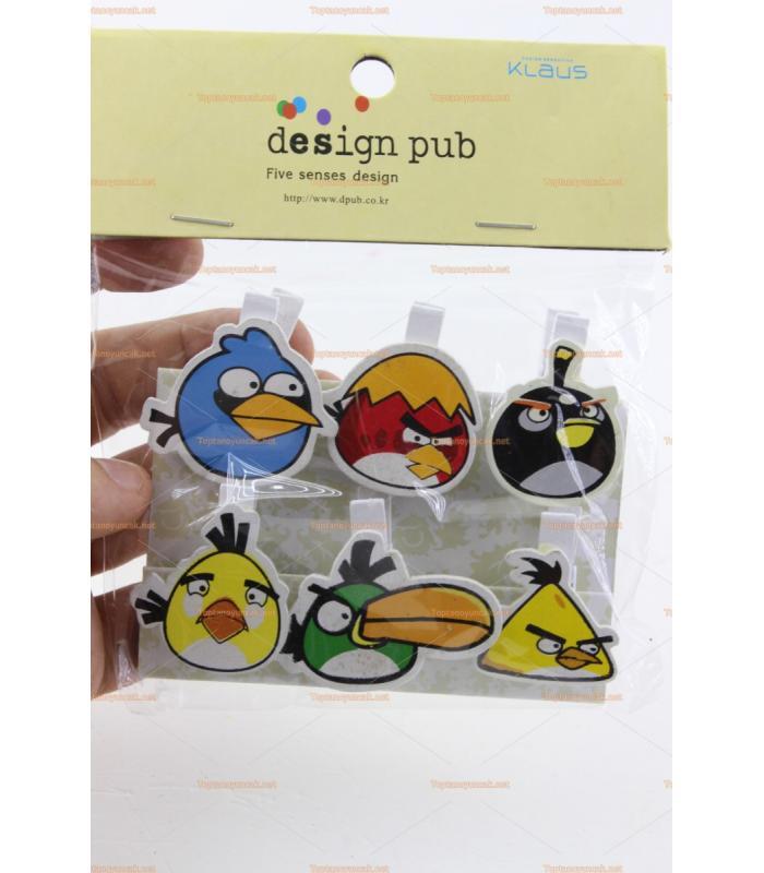 Toptan ahşap hediyelik eşya 6 lı angry birds mandal