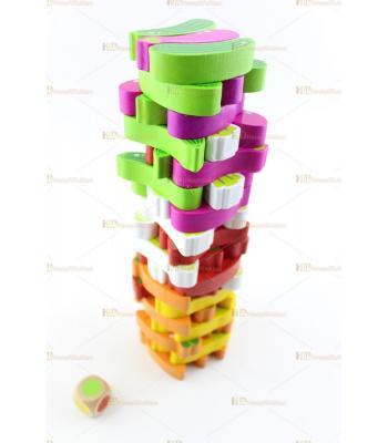 Meyve sebze jenga renkli parçalar toptan eğitici oyuncak