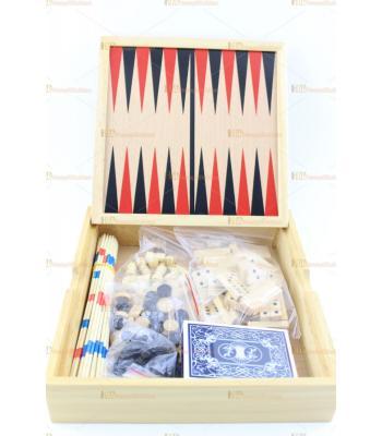 Hepsi bir arada oyun seti satranç tavla dama oyun kağıdı mikado domino