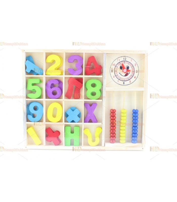 Ahşap eğitici oyuncak harfler rakamlar saat toptan oyuncak