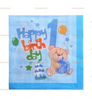 Mavi ayıcıklı 1 yaş doğum günü peçete toptan