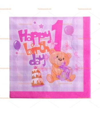 Pembe ayıcıklı 1 yaş doğum günü peçete toptan