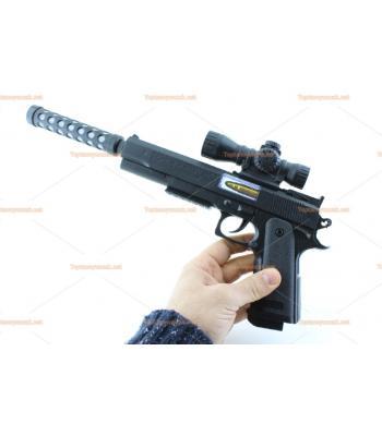 Toptan oyuncak tabanca ışıklı sesli pilli susturuculu
