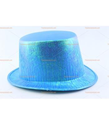 Toptan parti şapkaları renkli parlak silindir mavi