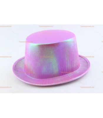 Toptan parti şapkaları renkli parlak silindir pembe
