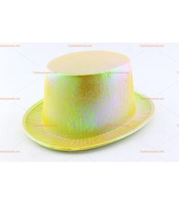Toptan parti şapkaları renkli parlak silindir sarı