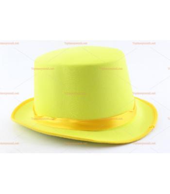 Toptan parti şapkaları renkli parlak silindir sarı kurdeleli
