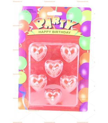 Toptan doğum günü mumu minik kırmızı kalpler
