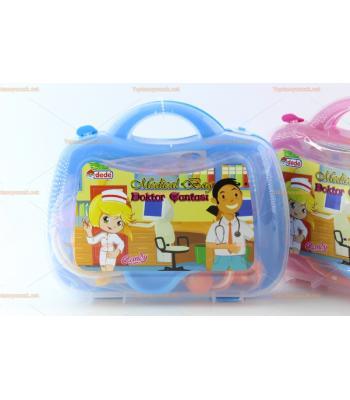 Toptan oyuncak doktor pvc çantası mavi renk