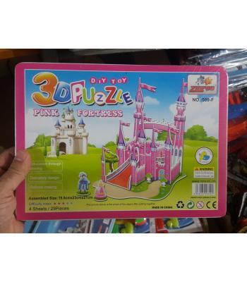 Toptan 3D karton puzzle pembe şato
