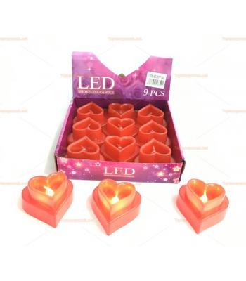 Toptan hediyelik kırmızı led kalpli mum