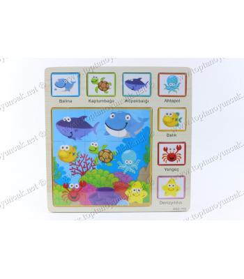 Promosyon oyuncak deniz hayvanları ahşap puzzle