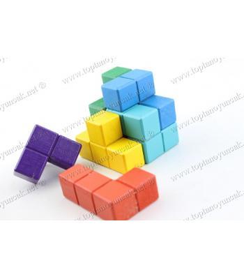 Promosyon oyuncak tetris zeka küpü ahşap bulmaca