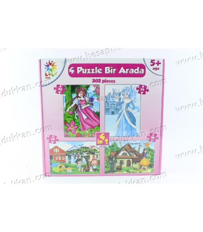 Promosyon oyuncak 4 in 1 puzzle karton yapboz prenses