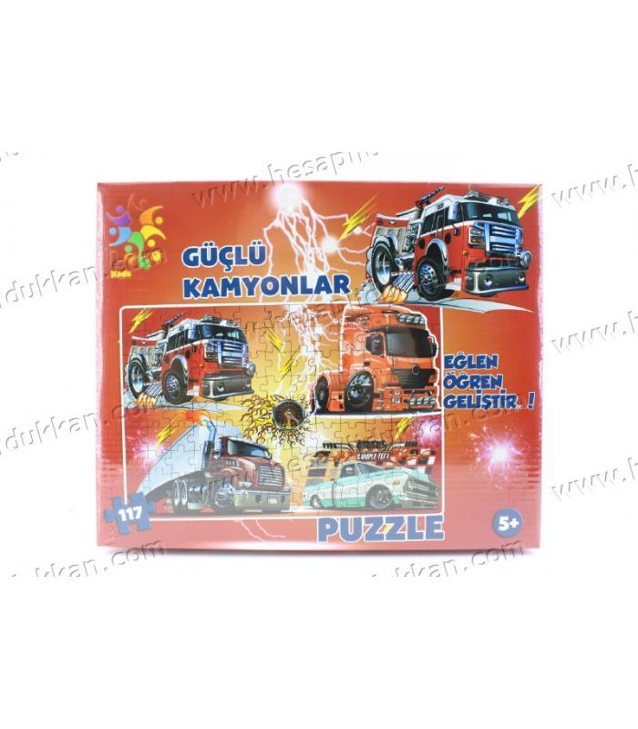 Promosyon oyuncak puzzle karton yapboz 4 in 1 güçlü kamyonlar