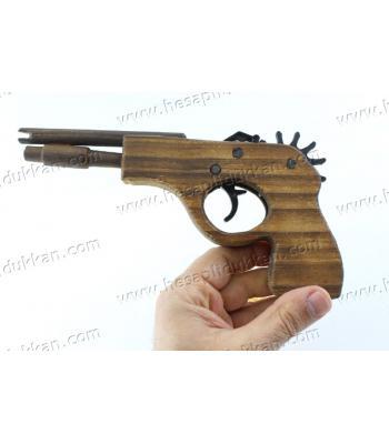 Promosyon oyuncak toptan ahşap lastik atan fırlatan tabanca