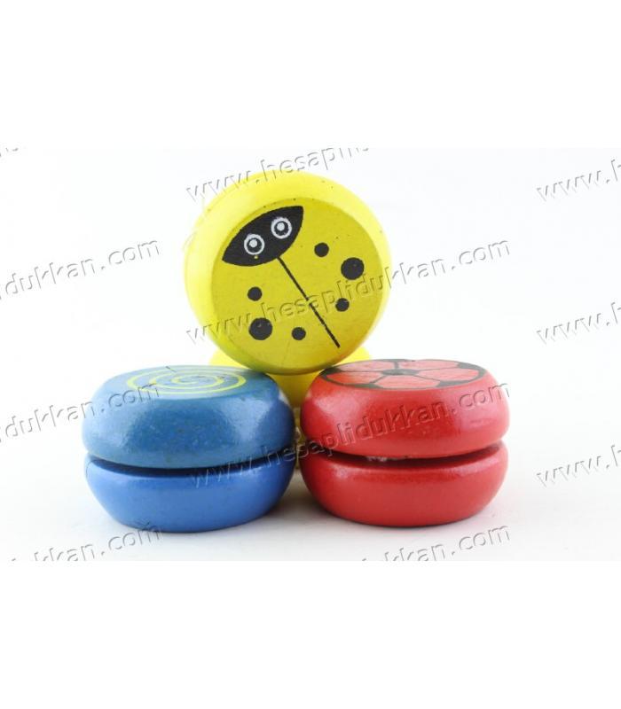 Promosyon oyuncak yoyo ahşap figürlü renkli mini