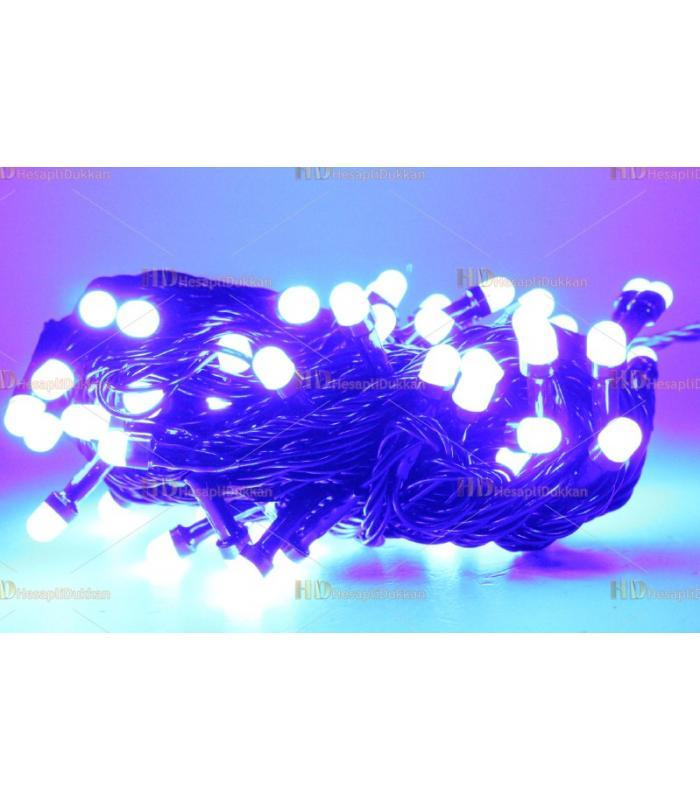 Yılbaşı ışıkları mavi fonksiyonel siyah kablo eklenebilir 80 led