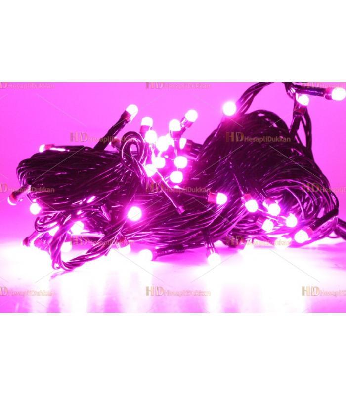 Yılbaşı ışıkları pembe 80 led fonksiyonel siyah kablo eklemeli
