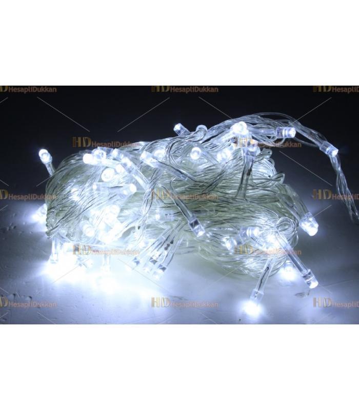 Yılbaşı ışıkları beyaz 100 led 10 metre şeffaf kablo fonksiyonel