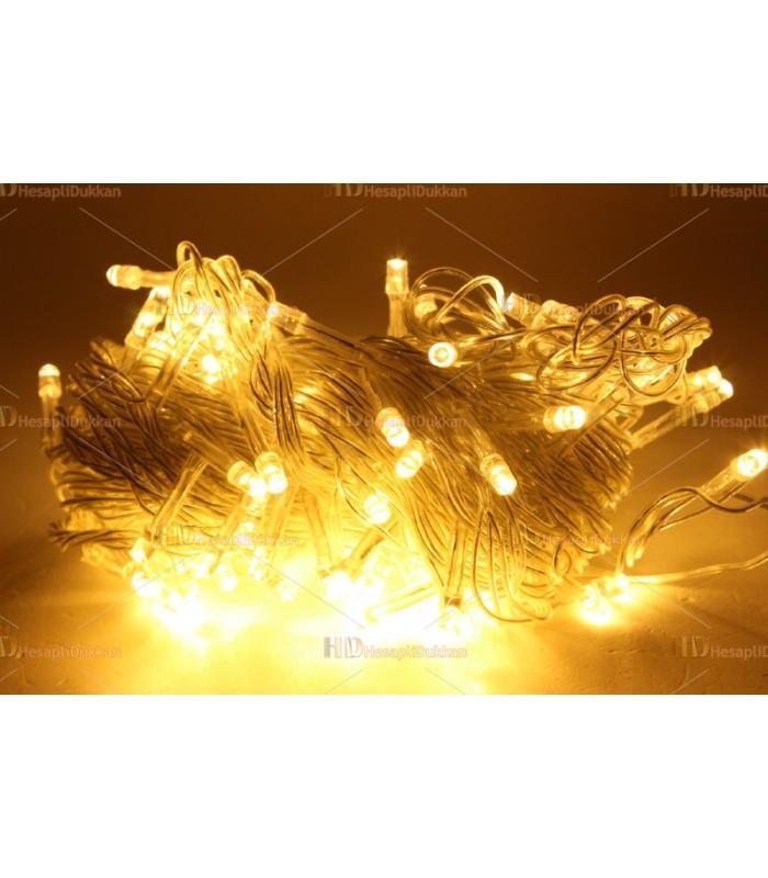 Yılbaşı ışıkları gün ışığı sarı led 10 metre şeffaf kablo fonksiyonel