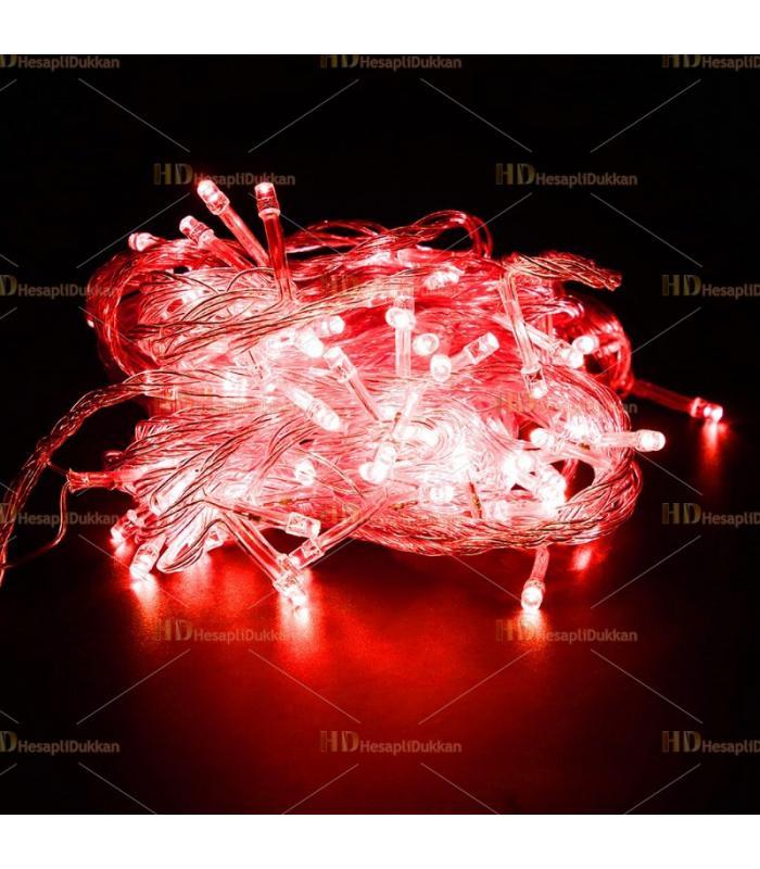 10 metre şeffaf kablo Kırmızı 100 led fonksiyonel Yılbaşı ışığı