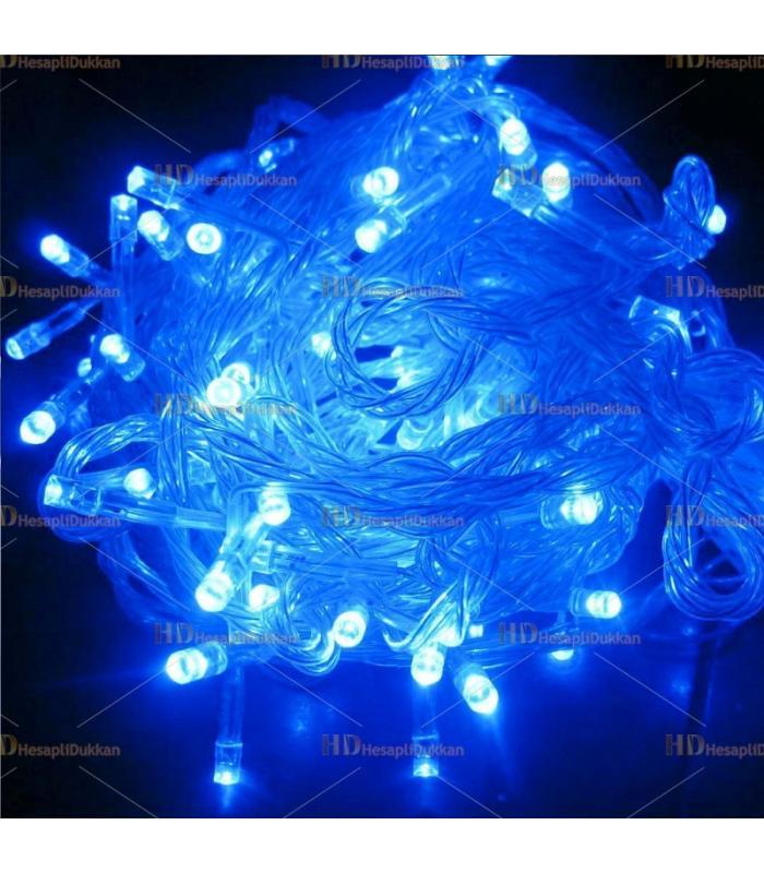 10 metre şeffaf kablo mavi 100 led fonksiyonel Yılbaşı ışığı