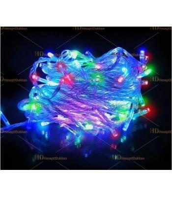 10 metre şeffaf kablo karışık renk 100 led fonksiyonel Yılbaşı ışığı