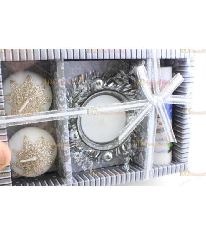 Yılbaşı hediyelik eşya 3+1 kardan adam yıldız mum paket set simli