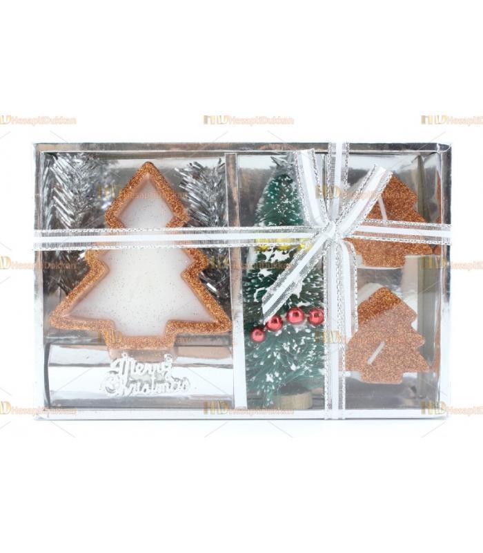 Yılbaşı hediyelik eşya 2+1 mini ağaç figür mum paket set simli
