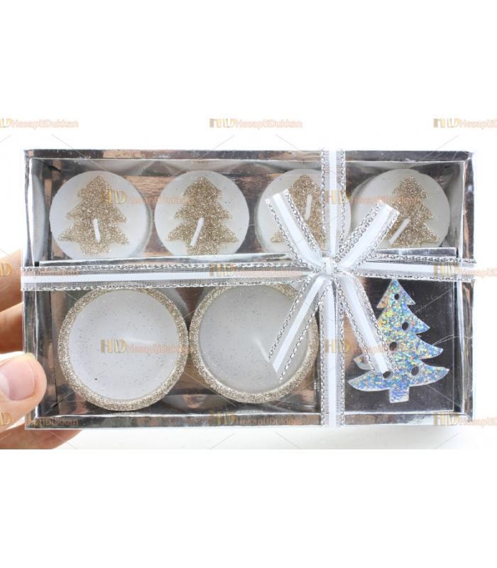 Yılbaşı hediyelik eşya 4+2 ağaç figür mum paket set simli