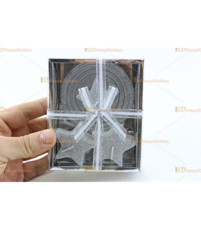 Yılbaşı hediyelik eşya 2+1 yıldız mum paket set simli