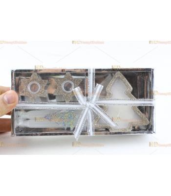 Yılbaşı hediyelik eşya iki yıldız şamdan ağaç mum paket set simli
