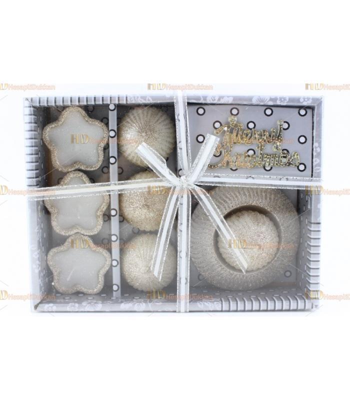 Yılbaşı hediyelik eşya 6+ 1 paket mum set simli Happy new year yazılı