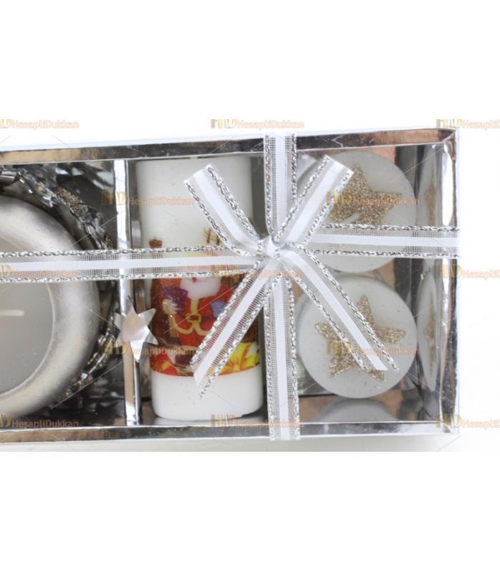 Yılbaşı hediyelik eşya 3 + 1 paket mum set simli yıldız