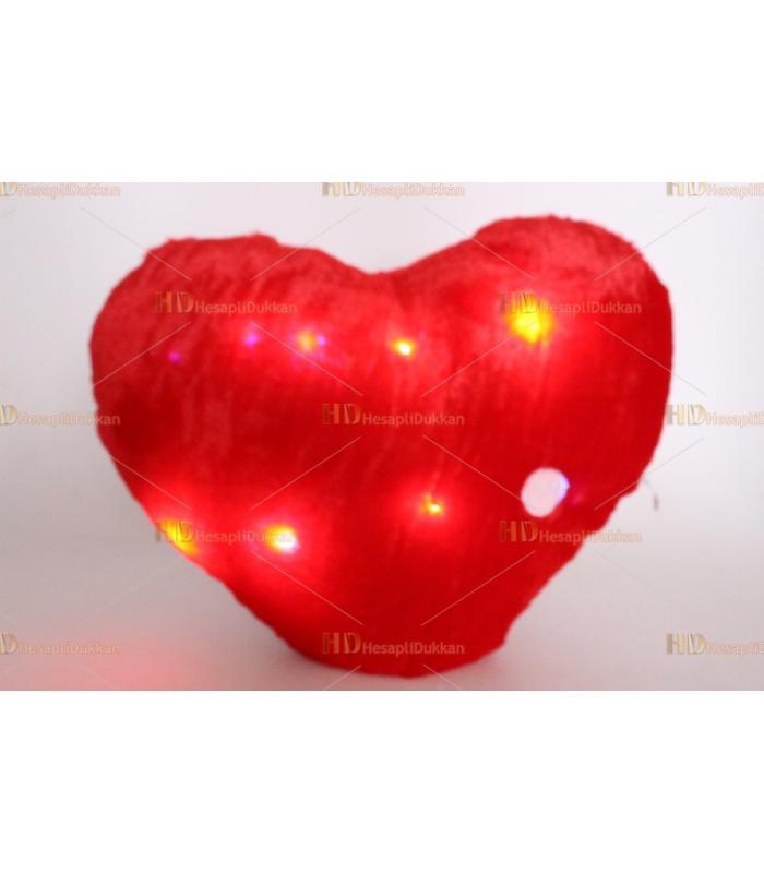 Toptan ışıklı sevgililer günü kalp yastık kırlent minder peluş