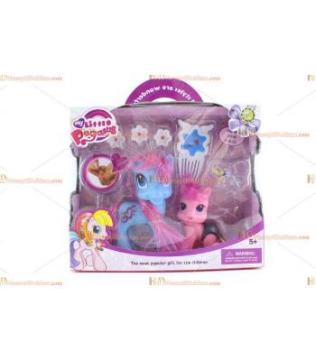 Toptan oyuncak pony at set kutulu ikili TOY6741
