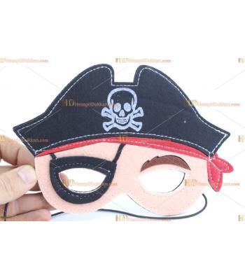 Çocuklar için maske keçe malzeme korsan figür