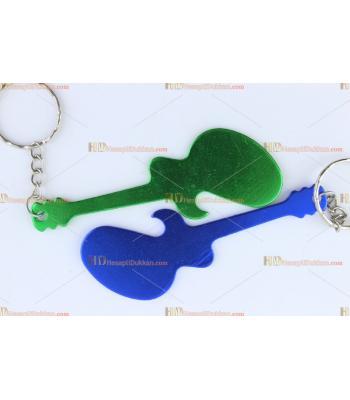 Promosyon lazer baskı gitar şeklinde metal anahtarlık