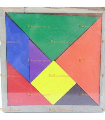 Toptan orta boy ahşap tangram promosyon eğitici oyuncak