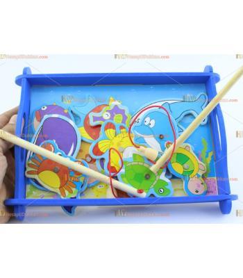 Toptan balık avlama ahşap eğitici oyuncak